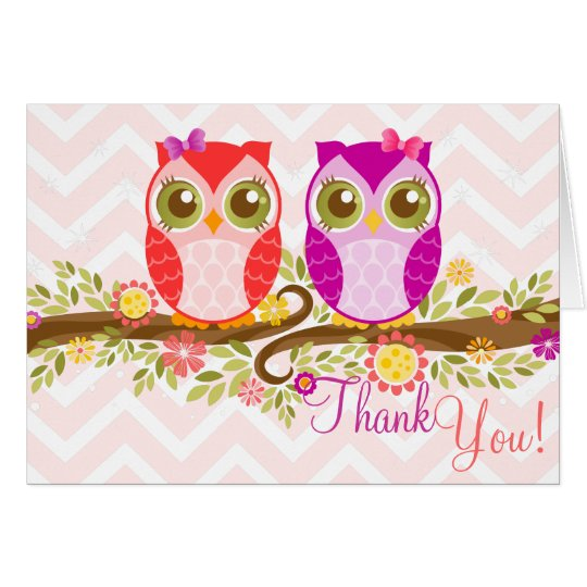 Eulen-Doppelmädchen - Gewohnheit danken Ihnen zu Mitteilungskarte