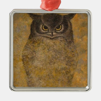 Eulen-Japaner-schöne Kunst Quadratisches Silberfarbenes Ornament