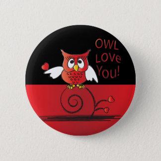 Eulen-Liebe Sie Valentine Runder Button 5,7 Cm