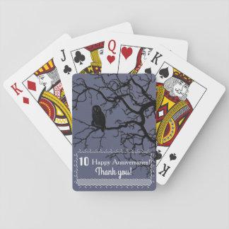Eulen-Silhouette in einem Baum Spielkarten