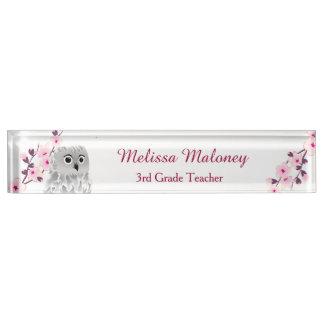 Eulen-und Kirschblüten Namensplakette