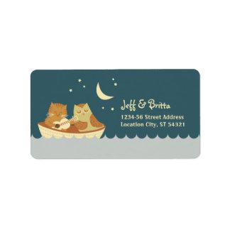 Euleu. Pussycatstorybook-Hochzeit (Seeblau) Adressetiketten