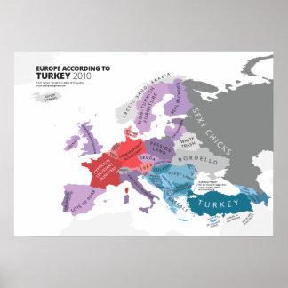 Europa entsprechend der Türkei Poster