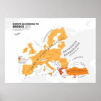 Europa entsprechend Griechenland Poster