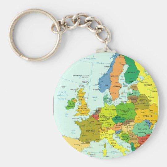Europa-Karte Standard Runder Schlüsselanhänger