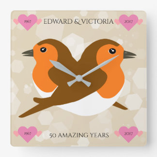 Europäische Rotkehlchen: 50 Jahre Hochzeitstag- Uhr