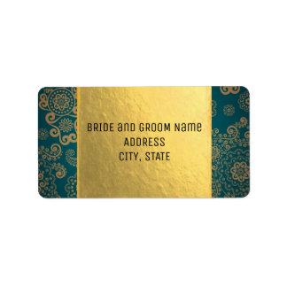 Europäisches Retro aquamarines u. Gold Adress Aufkleber