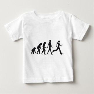 evolution of woman jogging baby t-shirt
