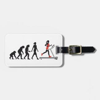 evolution of woman jogging on a treadmill fitness gepäckanhänger