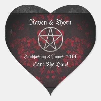 Ewige Handfasting/Hochzeits-Pentagramm-Rot-Reihe Herz-Aufkleber