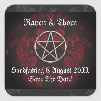 Ewige Handfasting/Hochzeits-Pentagramm-Rot-Reihe Quadratischer Aufkleber