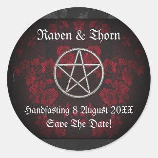 Ewige Handfasting/Hochzeits-Pentagramm-Rot-Reihe Runder Aufkleber
