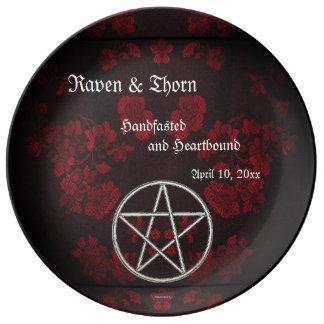 Ewige Handfasting/Hochzeits-Pentagramm-Rot-Reihe Teller