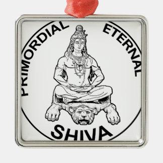 Ewiger Lords Shiva ursprünglicher, indischer Gott Quadratisches Silberfarbenes Ornament