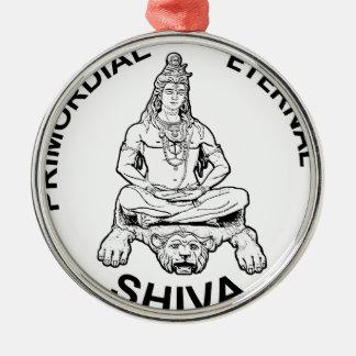 Ewiger Lords Shiva ursprünglicher, indischer Gott Rundes Silberfarbenes Ornament
