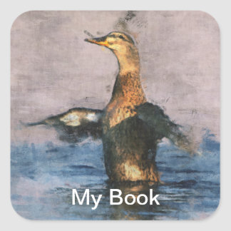 Ex-libris sauvages d'oiseau sticker carré