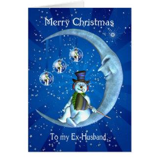 Ex-Manns-Weihnachtskarte - Schneemann und Mond Karte