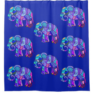 Exotische dekorative Stammes- bunte Elefanten Duschvorhang