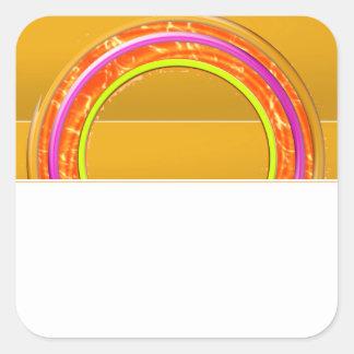 Exotische Grenzen fügen TEXT-GRUSS-NAMEN im Weiß Quadratischer Aufkleber