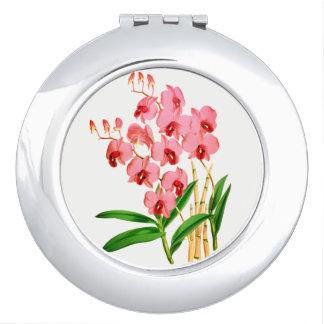 Exotische rosa Orchideen-kompakter Spiegel Schminkspiegel