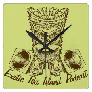 Exotische Tiki Inselpodcast-Uhr Quadratische Wanduhr