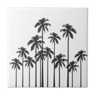 Exotische tropische Schwarzweiss-Palmen Keramikfliese
