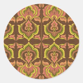 Exotischer Vintager Herbst färbt grünes Gelb Runder Aufkleber
