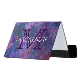 Explosives Monogramm-lila rosa grün-blaues des Schreibtisch-Visitenkartenhalter