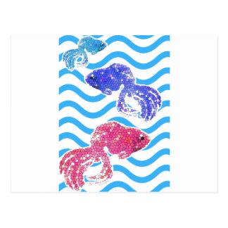 extravagante Fische Postkarte