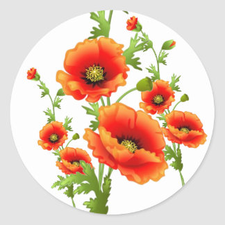 Extravagante rote Mohnblumen, Runder Aufkleber
