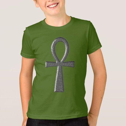 Extravaganter silberner Ankh Kinder T-Shirt
