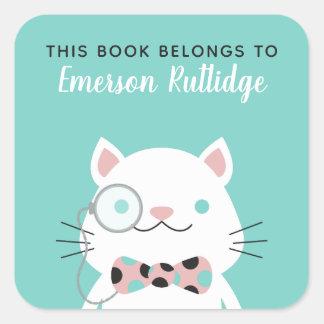 Extravaganter Türkis der Katzen-| dieses Buch Quadratischer Aufkleber