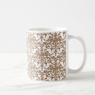 Extravagantes Gold und weißes Damast-Muster Kaffeetasse