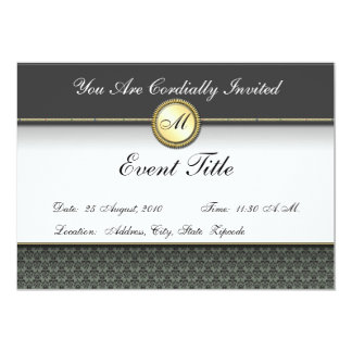 Extravagantes kundenspezifisches Monogramm-formale 12,7 X 17,8 Cm Einladungskarte