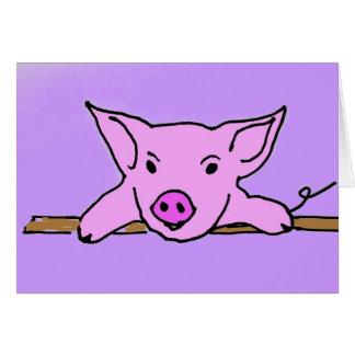 F6- Niedliche Schwein-Mitteilungskarten Karte