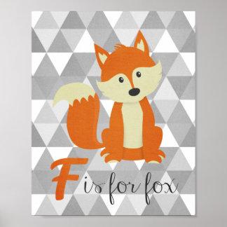 F ist für Fox-Kinderzimmer-Wand-Kunst Poster