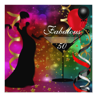 Fabelhafte 50 fünfzig Geburtstags-Party-Deko-Dame Quadratische 13,3 Cm Einladungskarte