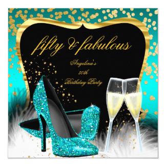 Fabelhafte 50 Party-aquamarine Karte