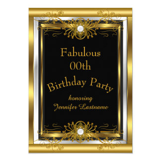 Fabelhafte Goldschwarz-Geburtstags-Party Einladung 12,7 X 17,8 Cm Einladungskarte