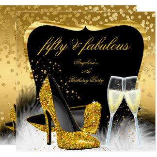 Fabelhafter 50 Party-Goldchampagne-Glitzer-Heels Karte