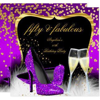 Fabelhaftes 50 Party-lila magentarotes Gold Karte