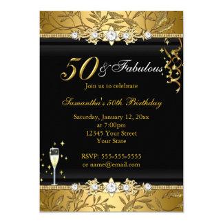 Fabelhaftes Geburtstags-Schwarzes des 12,7 X 17,8 Cm Einladungskarte
