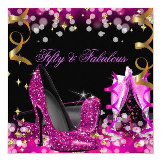 Fabelhaftes heißes Rosa-Glitter-hohe Quadratische 13,3 Cm Einladungskarte