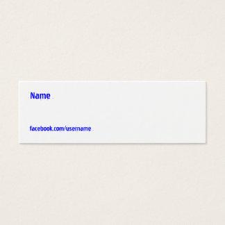 Facebook weißes kundengerechtes Mini-Visitenkarten