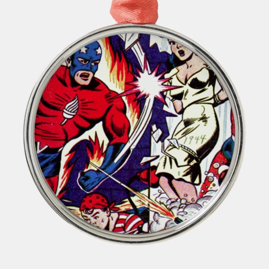 Fackel-Mann und Fackel-Junge Rundes Silberfarbenes Ornament