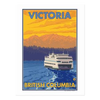 Fähre und Berge - Victoria, BC Kanada Postkarte