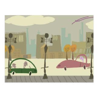 Fahren in die Stadt Postkarte