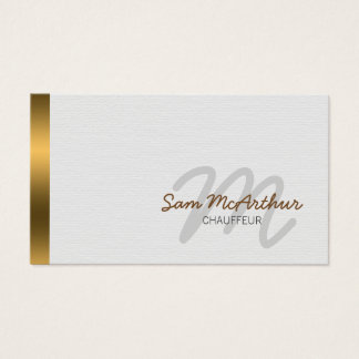 Fahrer-Transport-Goldcursive-Monogramm Visitenkarte