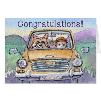 Fahrprüfungglückwünsche, Corgihundefahren Karte