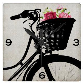 Fahrrad-Korb mit Pfingstrosen-Wanduhr Wanduhren